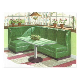 50s Green Kitchen Booth Postcard