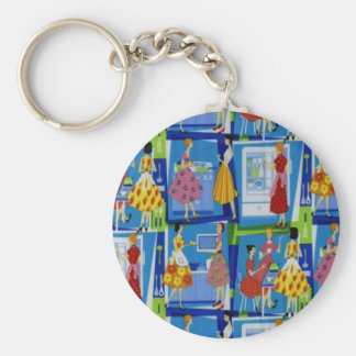 50's Housewife Design Basic Round Button Key Ring