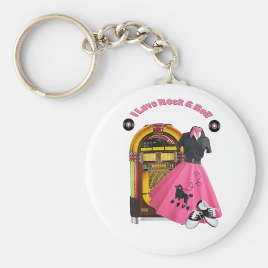 50's I Love Rock & Roll Keychain