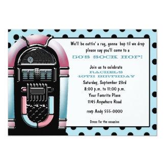 "50s Jukebox Birthday Invitation 5"" X 7"" Invitation Card"