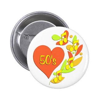 50s Music Heart 6 Cm Round Badge