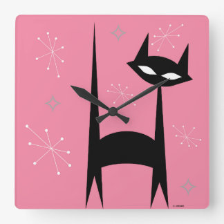 50's Retro Black Cat Pink Pop Art Clock