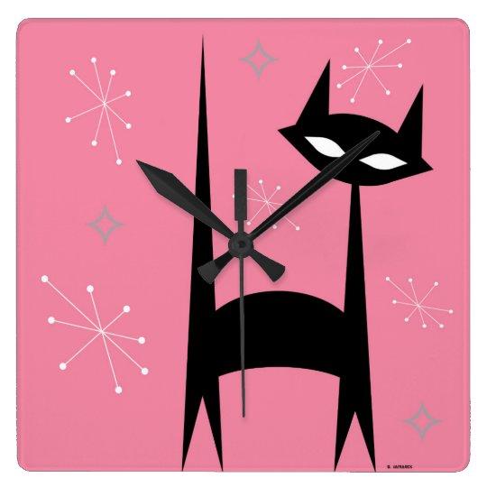 50's Retro Black Cat Pink Pop Art Clock