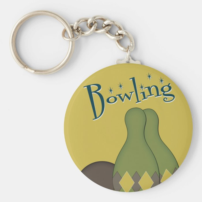 50s Retro Bowling Basic Round Button Key Ring