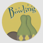 50s Retro Bowling Classic Round Sticker