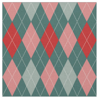 50s Retro Christmas Argyle Fabric
