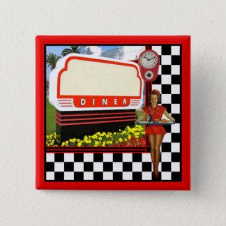 50s Retro Diner 15 Cm Square Badge