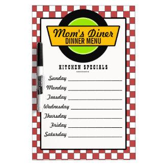50's Retro Diner Menu Dry Erase Board