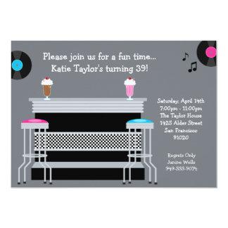 """50's Retro Party Invitation 5"""" X 7"""" Invitation Card"""