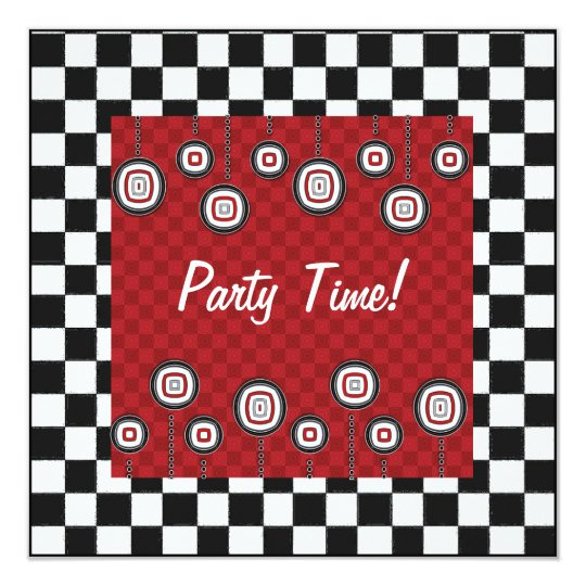 50s Retro Party Invitation in Red White and