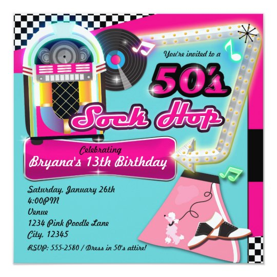 50's SOCK HOP Birthday Party Retro Invitation