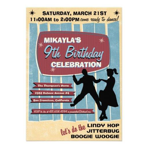 50s Sock Hop Dance Party Invitation