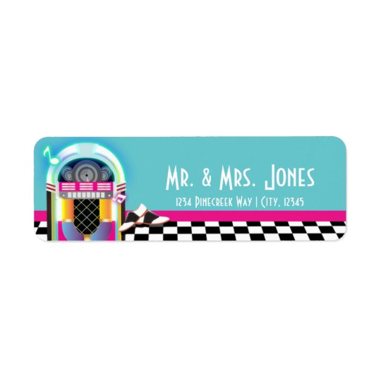 50's Sock Hop Dance Party Jukebox Address Labels
