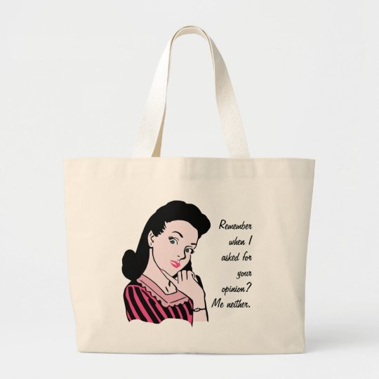 50s Woman Sarcasm Large Tote Bag