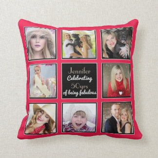 50th 40th 30th 21st Instagram PHOTO Collage Pink 1 Cushion