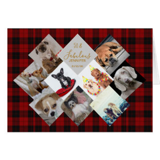 50th 40th 60th PHOTO Collage Buffalo Plaid Named Card