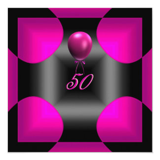 50th 50 Birthday Party Abstract Pink 3 Balloon 13 Cm X 13 Cm Square Invitation Card