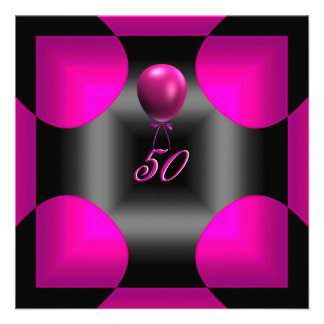 50th 50 Birthday Party Abstract Pink 3 Balloon Personalized Invitations
