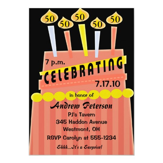50th - 59th Birthday Party Personalised Invitation