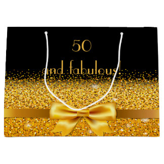 50th and fabulous on black with gold bow sparkle large gift bag