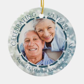 50th Anniversary, 2-Sided 2-Photo Teal/Blue/White Christmas Ornament