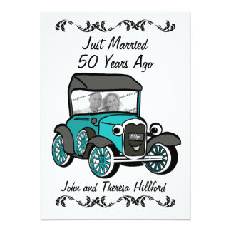 50th Anniversary Antique Car 13 Cm X 18 Cm Invitation Card