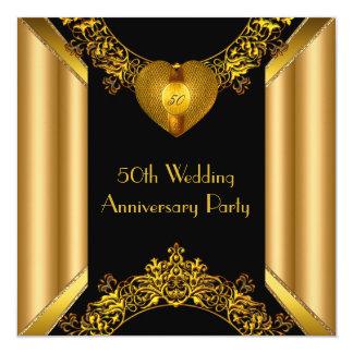 50th Anniversary Art Deco Gold Golden Heart 2 Card