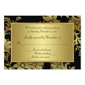 50th Anniversary Black and Gold Floral RSVP Card 9 Cm X 13 Cm Invitation Card