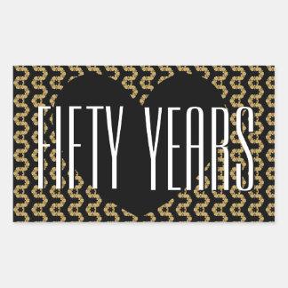 50th Anniversary Black Gold Ornate V02A Rectangular Sticker