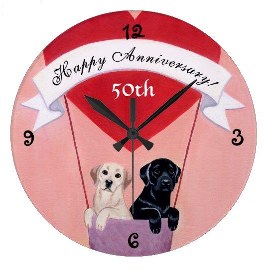 50th Anniversary Black & Yellow Labradors Large Clock