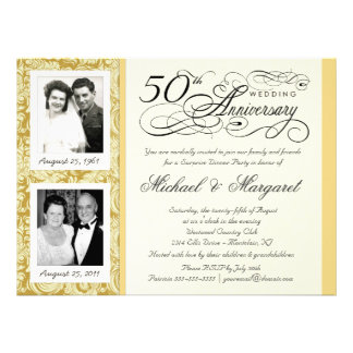 50th Anniversary Fancy 2 Photo Invitation - Large