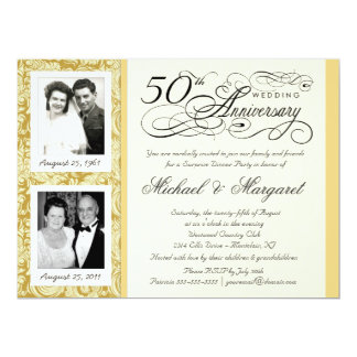 50th Anniversary Fancy 2 Photo Invitation - Large