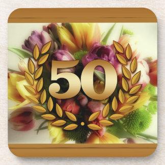 50th anniversary floral illustration golden frame drink coasters