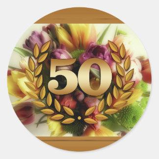 50th anniversary floral illustration golden frame round sticker