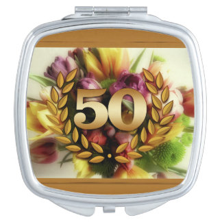 50th anniversary floral illustration golden frame travel mirrors