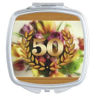 50th anniversary floral illustration golden frame travel mirrors