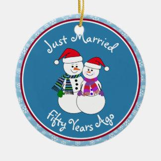 50th Anniversary Gift Fun Snow Couple Christmas Christmas Ornament