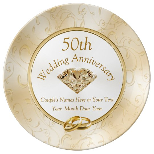 50th Anniversary Gift Ideas For Friends Family Plate Zazzle Co Uk