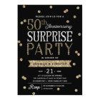 50th Anniversary Glitter Confetti Surprise Party Card