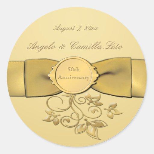 """50th Anniversary Gold 1.5"""" Diameter Round Sticker"""