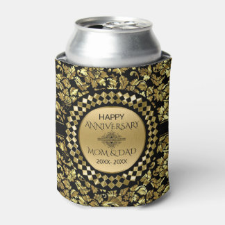 50th Anniversary Gold And Black Damask