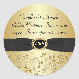 "50th Anniversary Gold, Black 1.5"" Round Sticker"