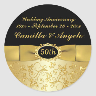 """50th Anniversary Gold, Black 1.5"""" Round Sticker"""