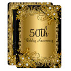50th Anniversary Gold Black Diamond Floral Swirl Card