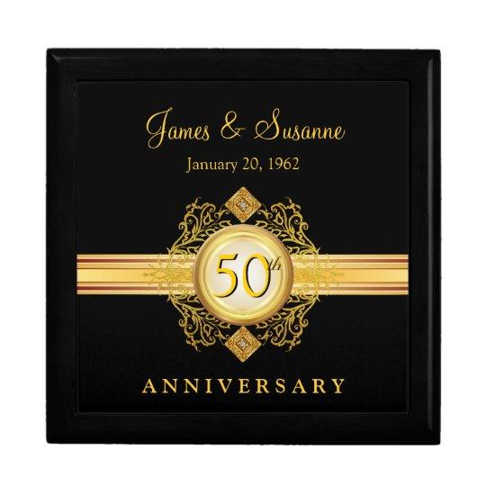 50th Anniversary Gold Black Keepsake Gift Box