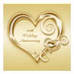 50th Anniversary Gold Heart Invitation