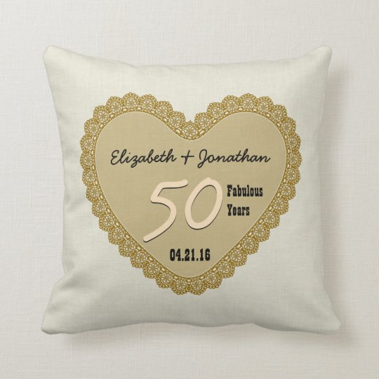 50th Anniversary Gold Lace Heart Custom Names V01