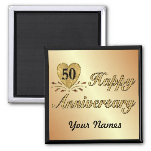 50th Anniversary - Gold Fridge Magnets