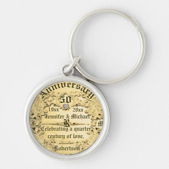 50th Anniversary Gold Monogram Key Ring