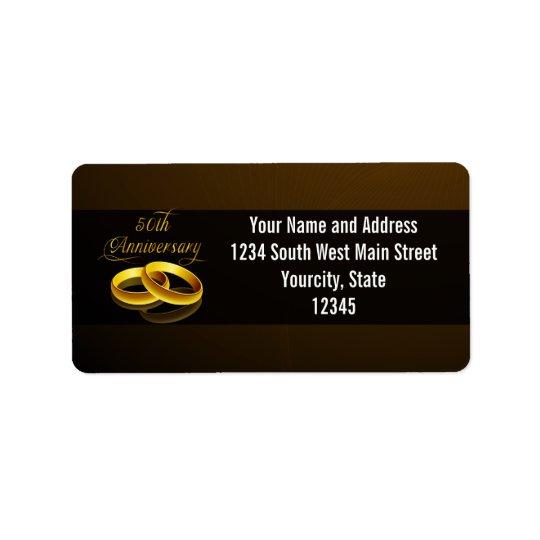50th Anniversary   Gold Script Address Label